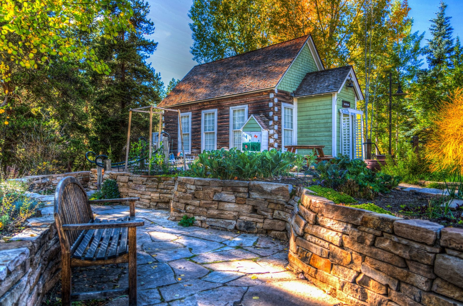 عکس زمینه خانه های چوبی در جنگل سبز پس زمینه