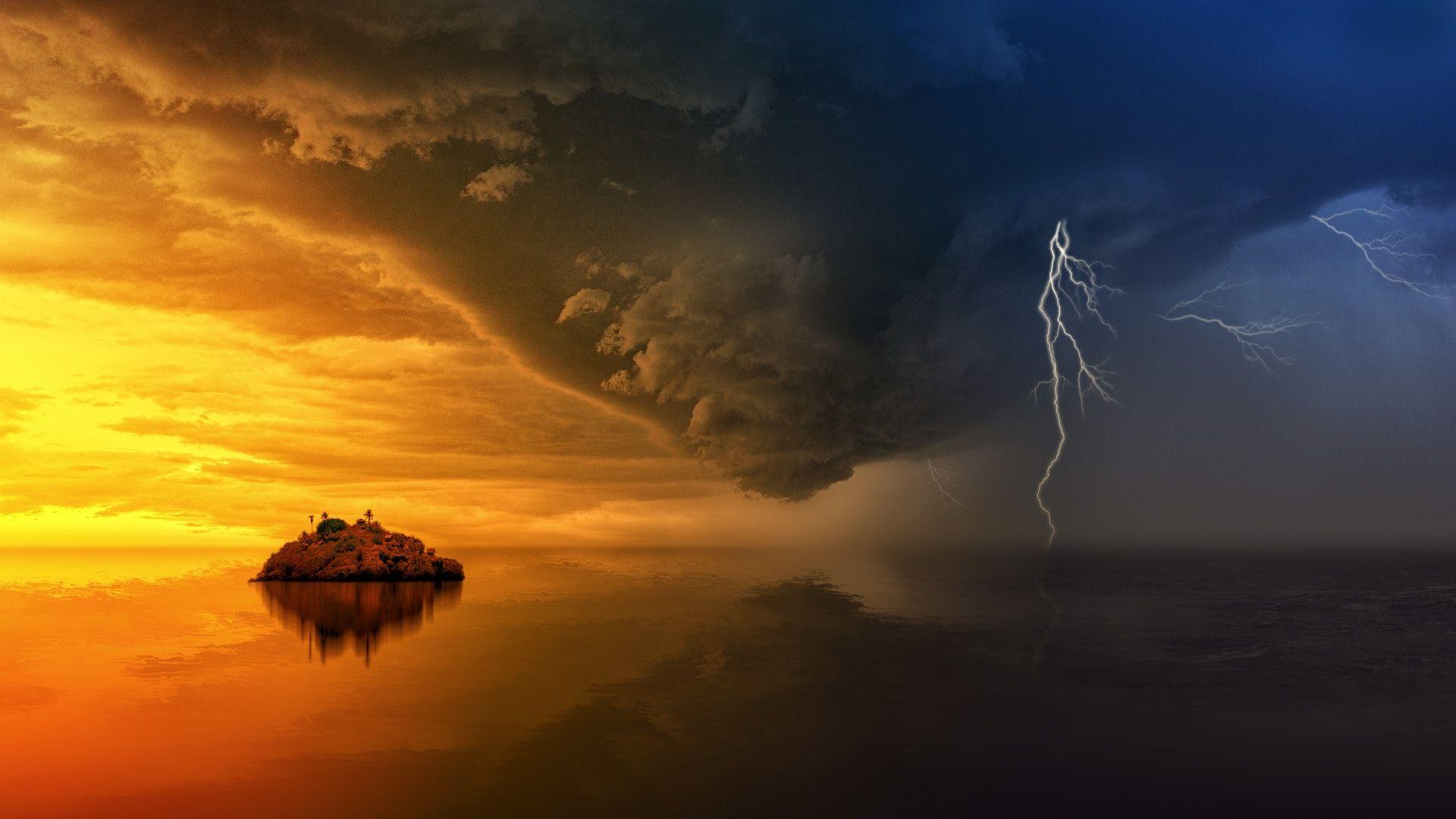 عکس زمینه جزیره طلایی و طوفان های آینده پس زمینه