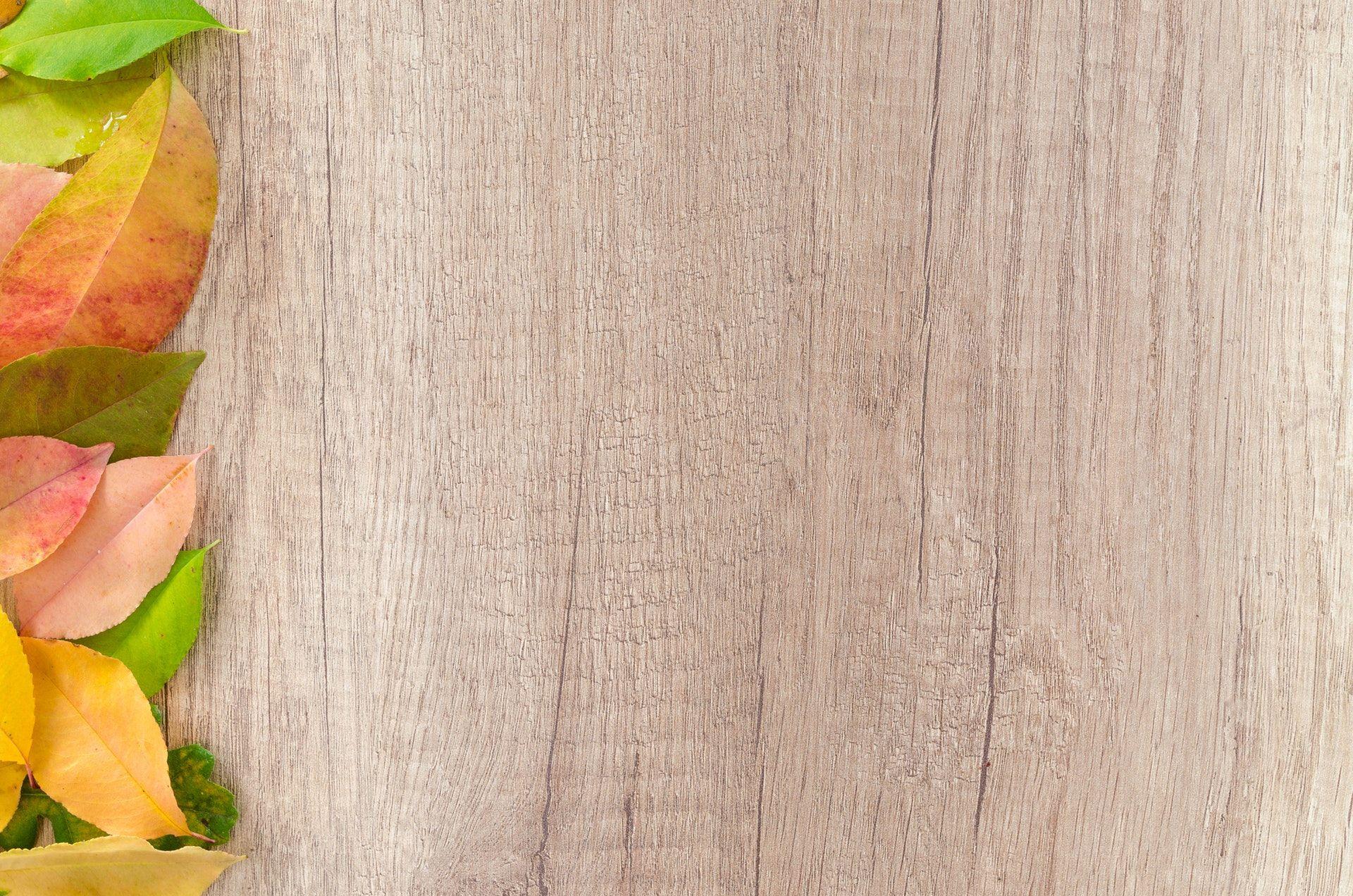 عکس زمینه طرح چوبی با برگ های رنگی پس زمینه