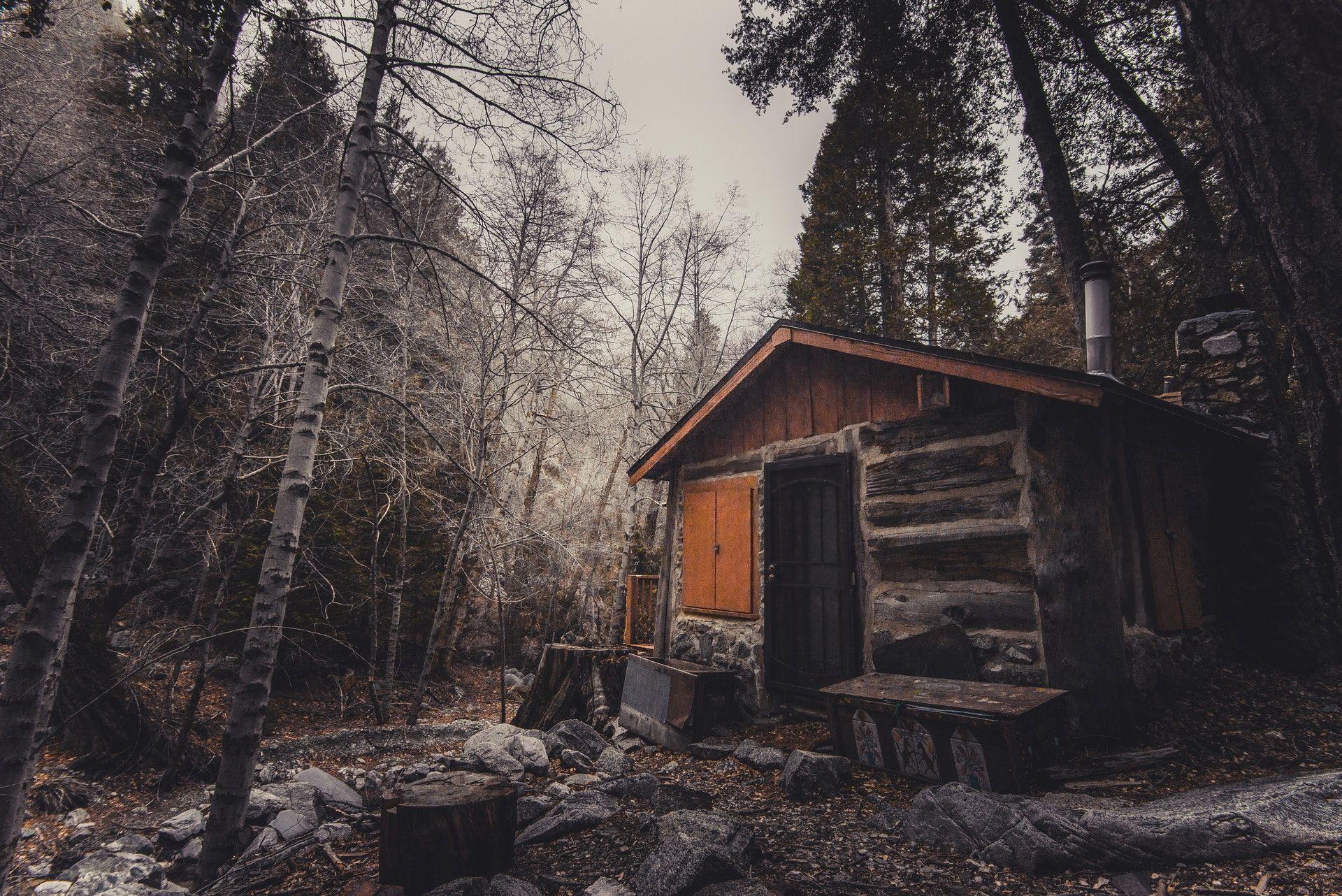 عکس زمینه کلبه چوبی قهوه ای پس زمینه
