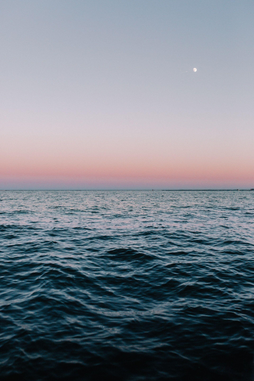 عکس زمینه غروب دریای آرام و زیبا پس زمینه