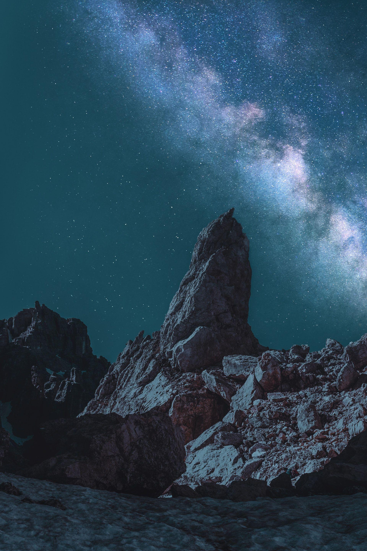 عکس زمینه کهکشان راه شیری در آسمان شب پس زمینه