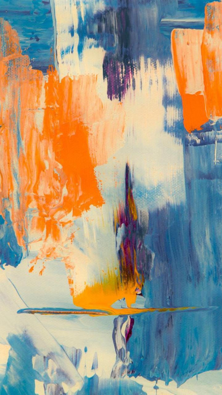 عکس زمینه نقاشی انتزاعی آبی ، سفید و نارنجی پس زمینه