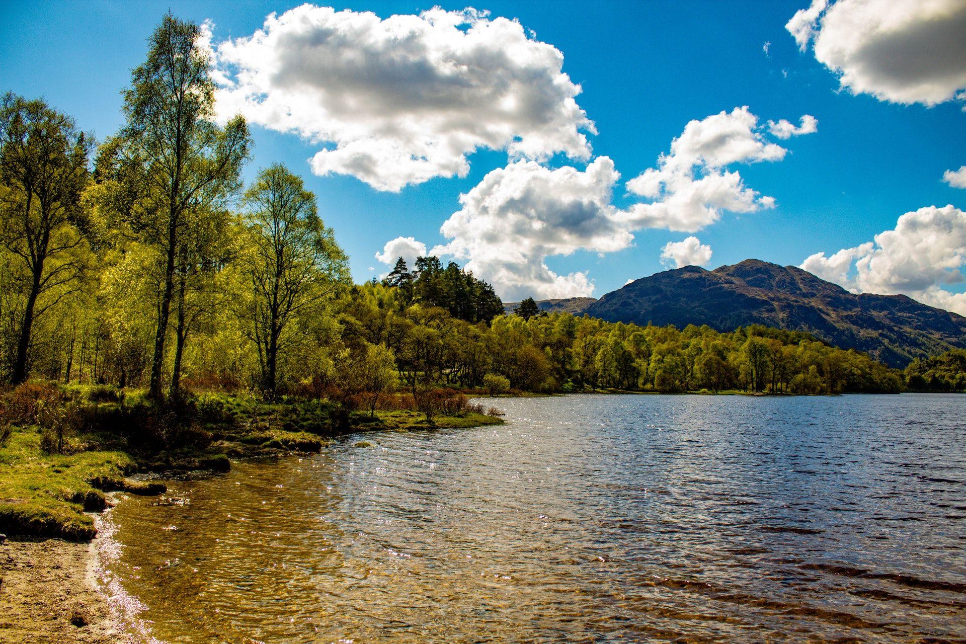 عکس زمینه آب احاطه شده توسط درختان و ابر HDR پس زمینه