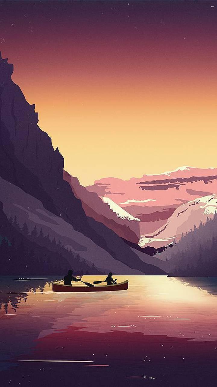عکس زمینه منظره کارتونی قایق سواری پس زمینه