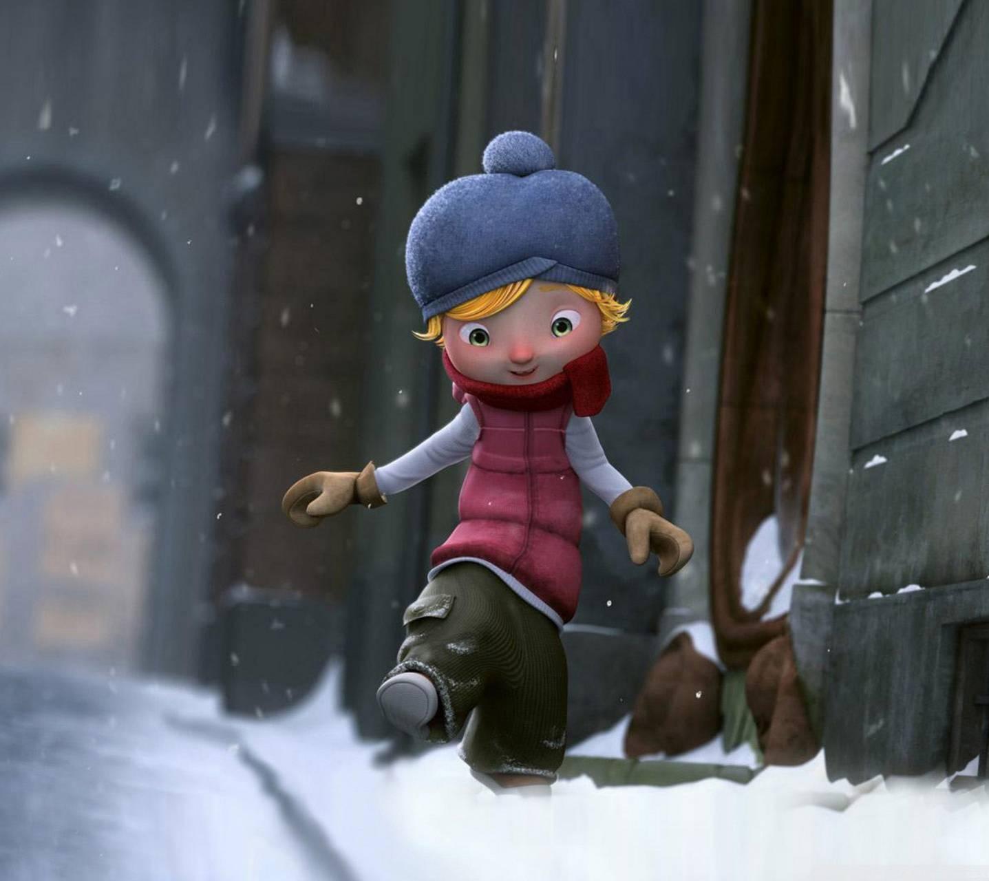 عکس زمینه کارتونی پسرک در برف پس زمینه