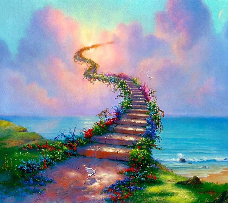 عکس زمینه مفهومی پله به آسمان پس زمینه