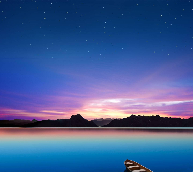 عکس زمینه طبیعت HD شب دریا آرام پس زمینه