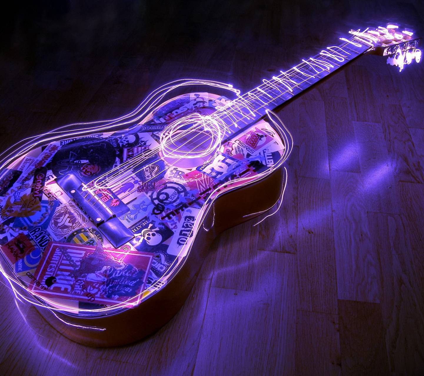 عکس زمینه گیتار نئون بنفش پس زمینه