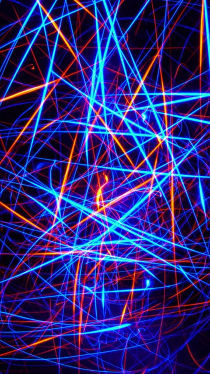 عکس زمینه نور های نئونی آبی و زرد پس زمینه