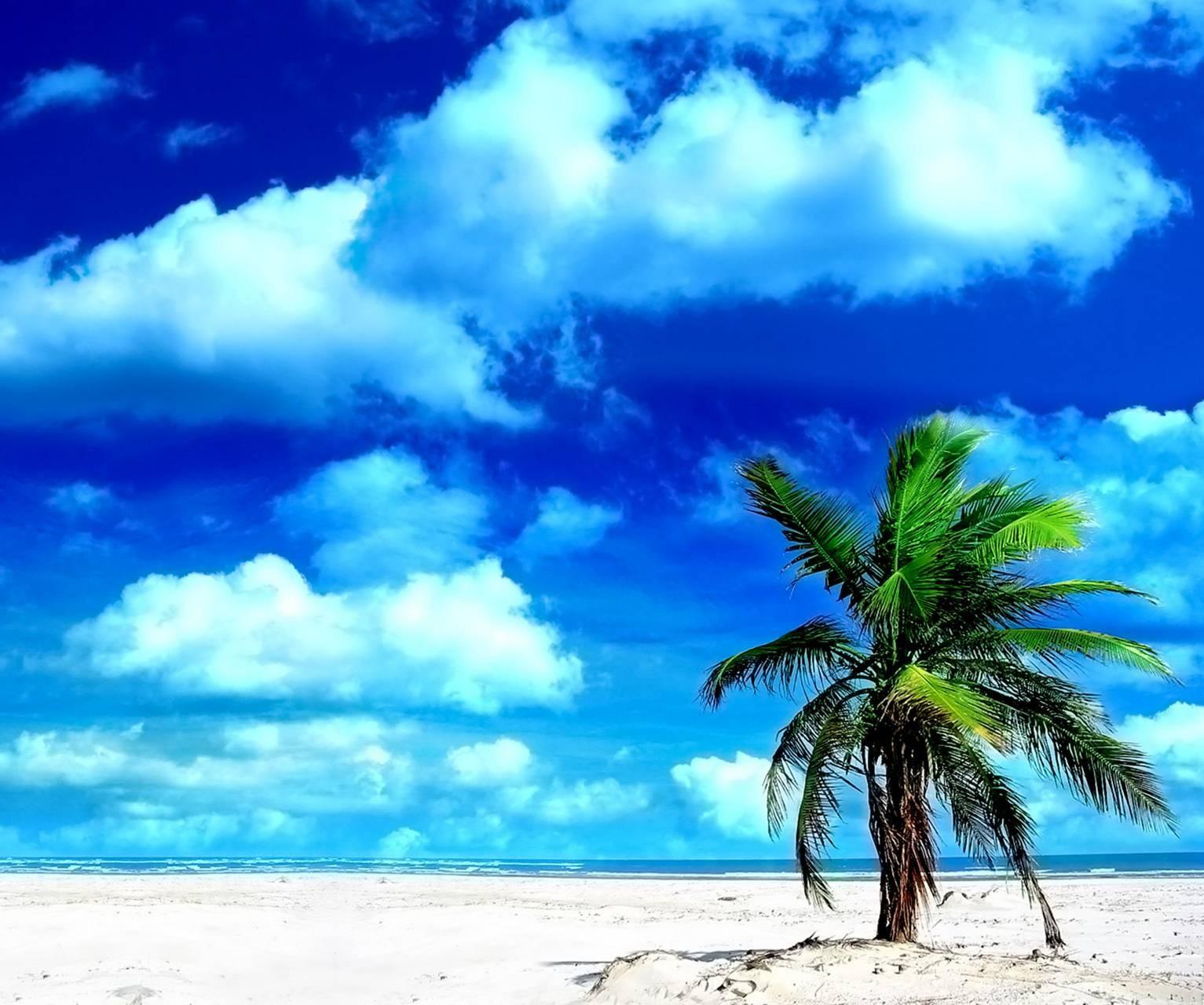 عکس زمینه ساحل و ابر های تابستانی HD پس زمینه