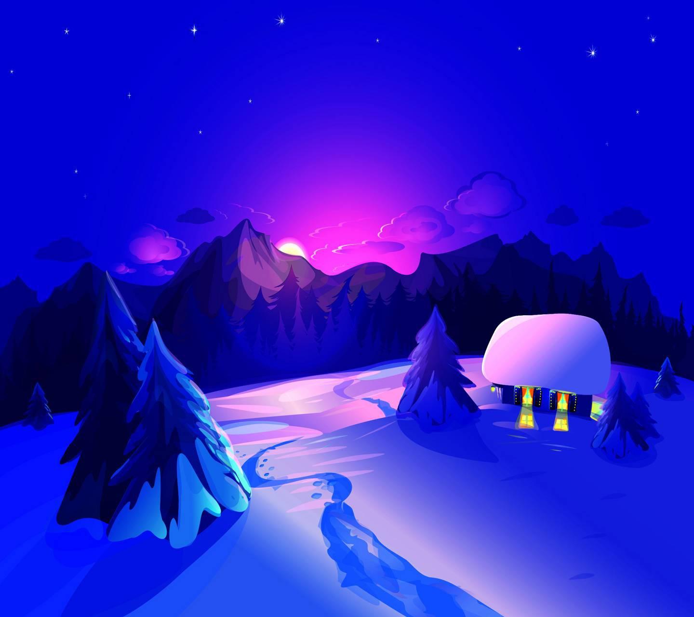 عکس زمینه شب زمستانی پس زمینه