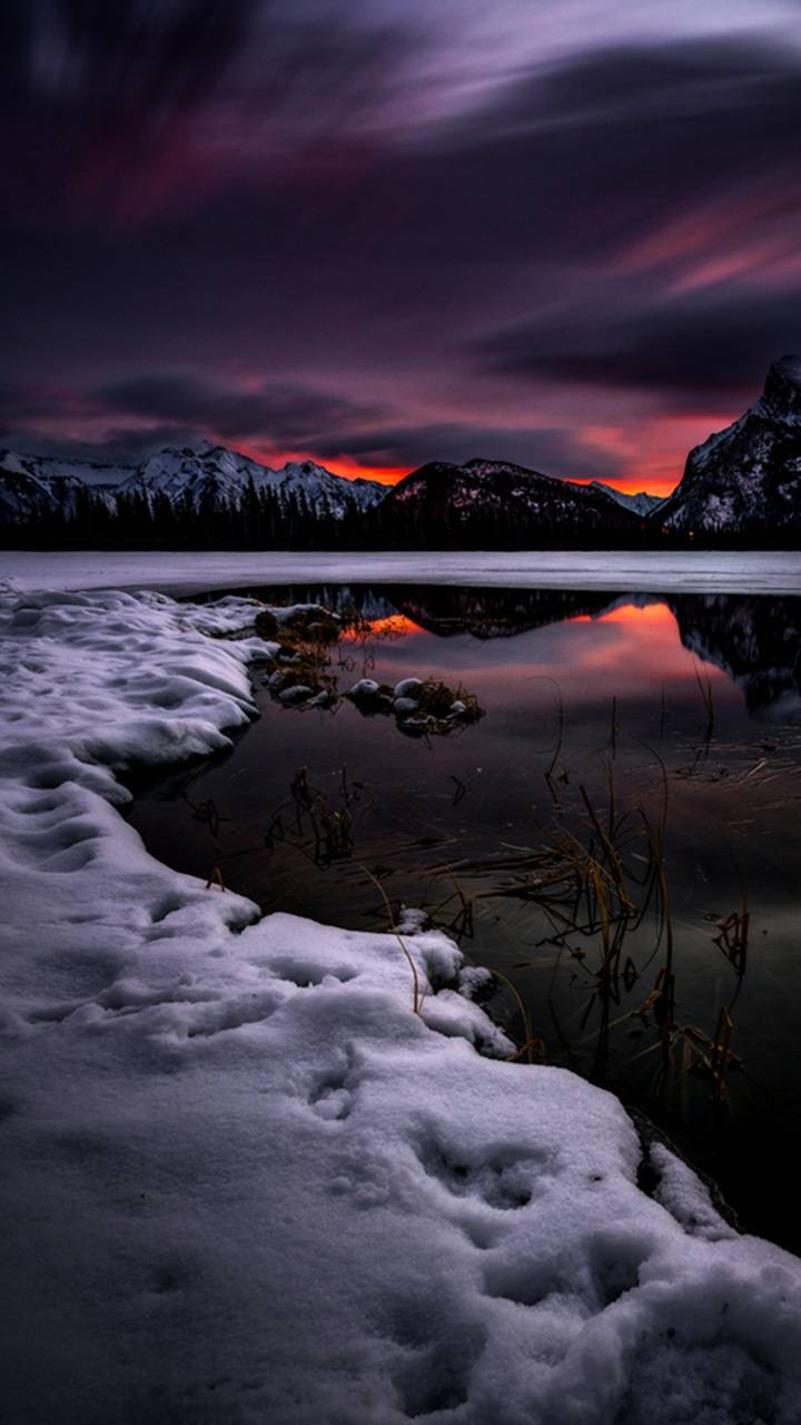 عکس زمینه چشم انداز زمستانی پس زمینه