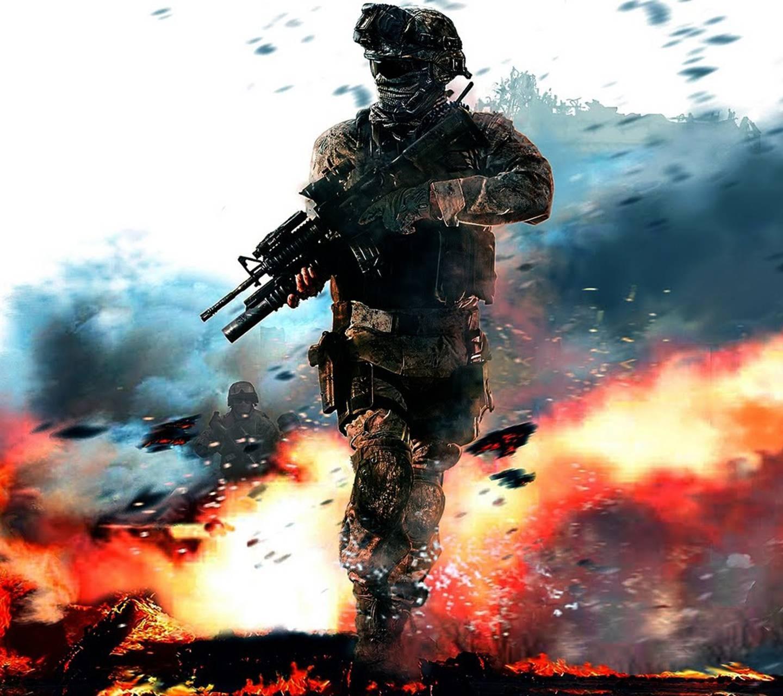 عکس زمینه سرباز و آتش جنگ پس زمینه