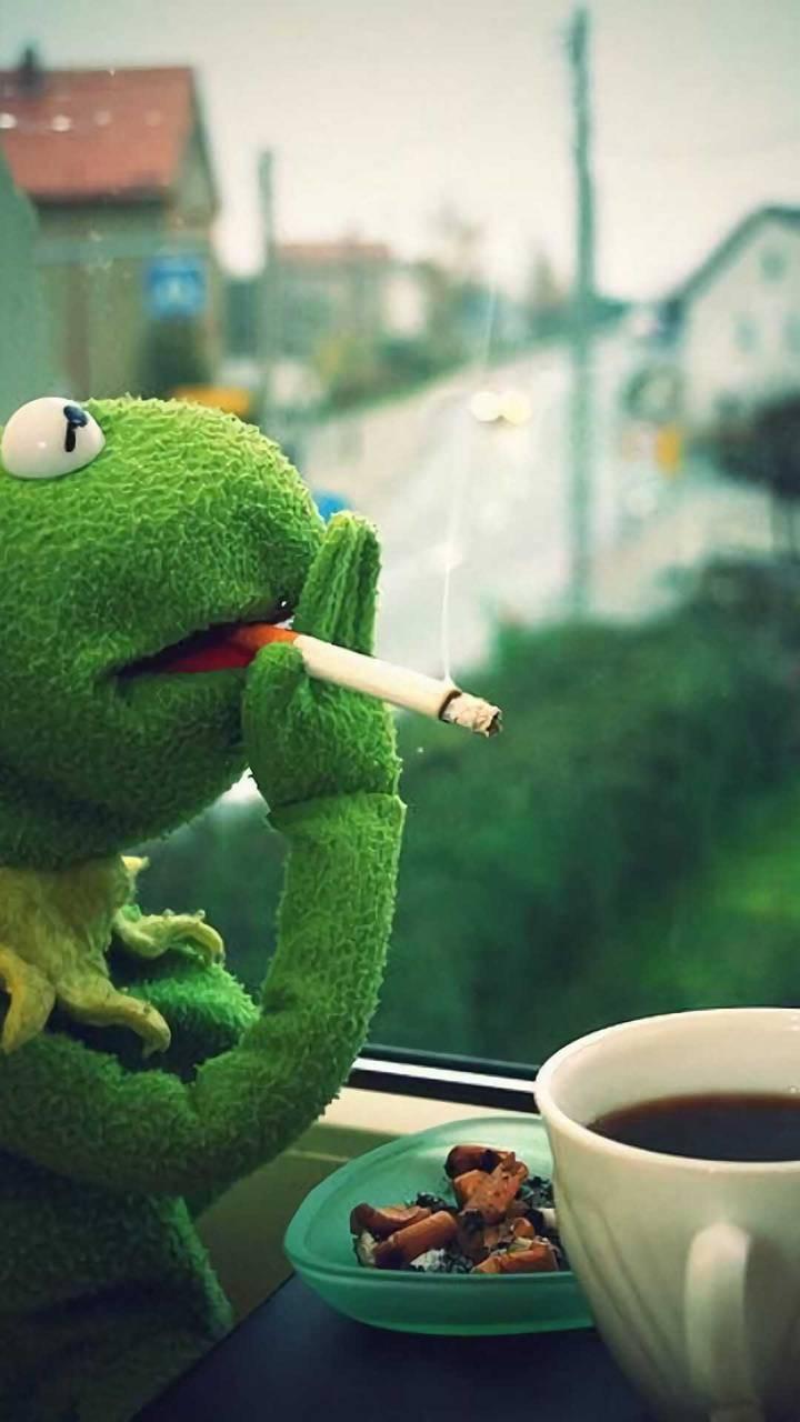 عکس زمینه کرمیت قهوه و سیگار پس زمینه