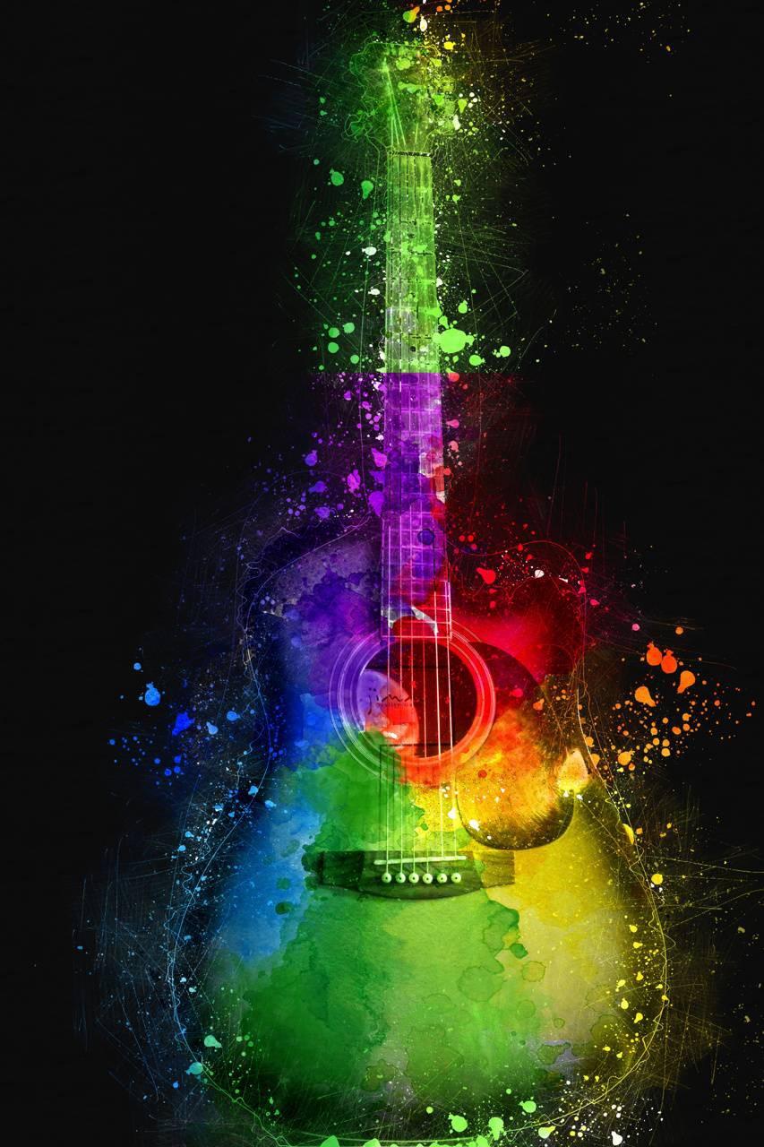 عکس زمینه 4K گیتار رنگی پس زمینه
