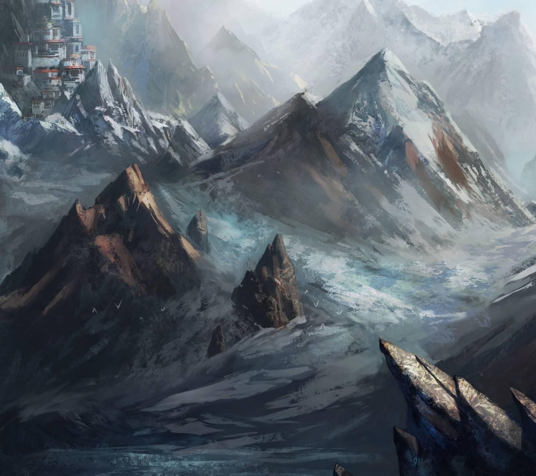 عکس زمینه نقاشی طبیعت کوهستان و قلعه پس زمینه