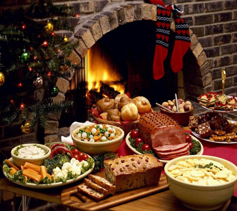عکس زمینه غذا های کریسمسی پس زمینه