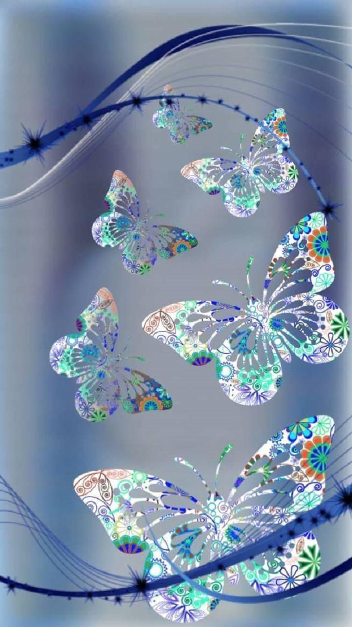 عکس زمینه پروانه ها گلدار زیبا دخترونه پس زمینه