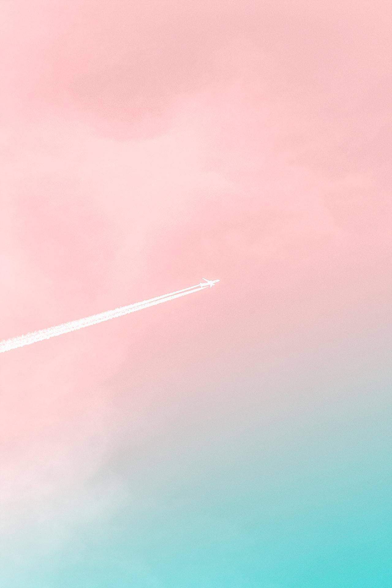 عکس زمینه هواپیما در آسمان زیبا پس زمینه
