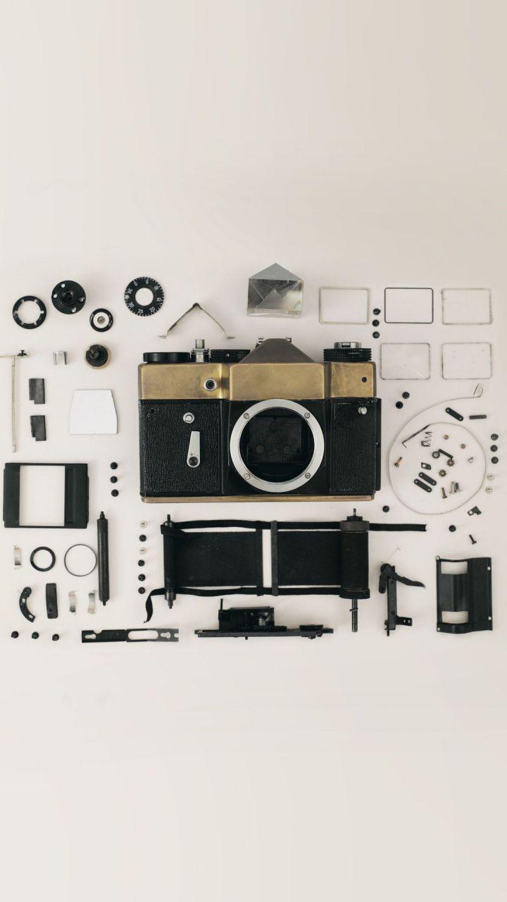 عکس زمینه اجزای دوربین DSLR پس زمینه