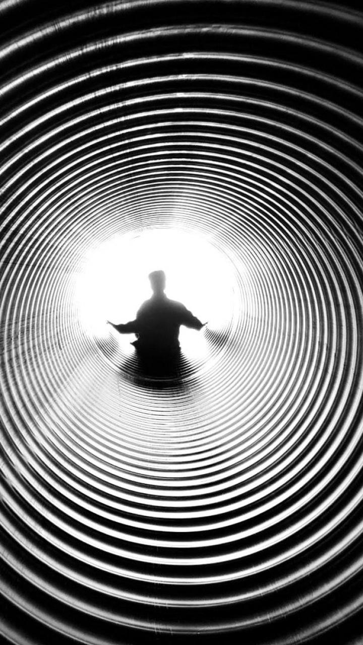 عکس زمینه هنری تونل سیاه و سفید پس زمینه