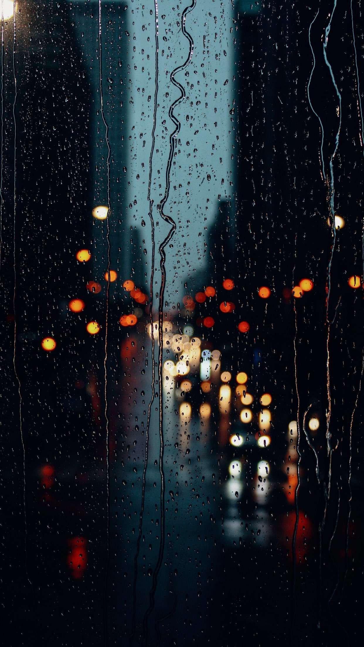عکس زمینه بارون پشت پنجره شب پس زمینه