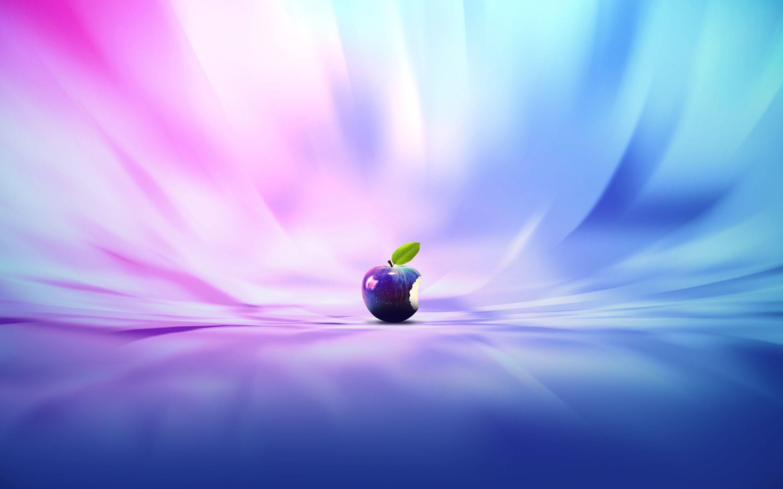 عکس زمینه سیب گاززده اپل رنگی برای مک بوک پس زمینه