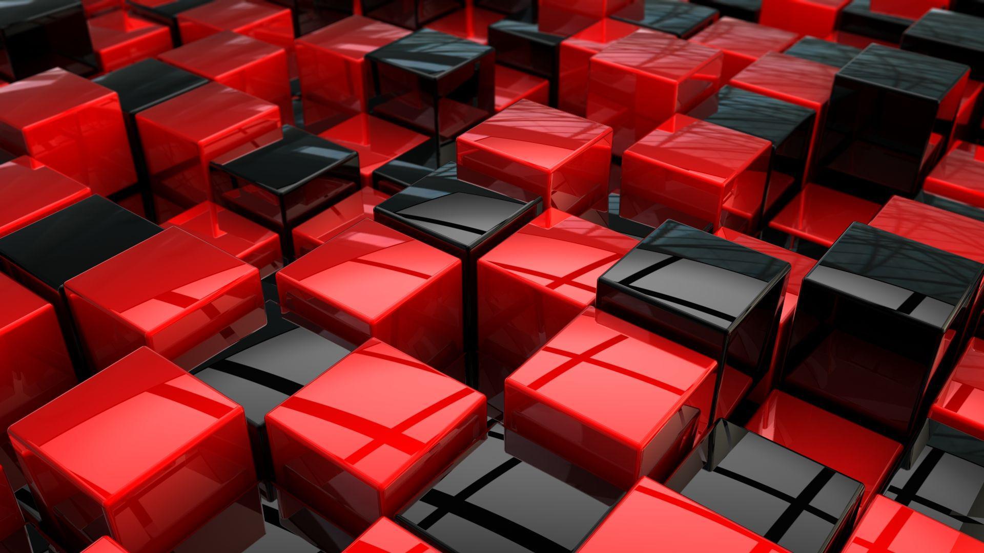 عکس زمینه مکعب های قرمز مشکی بعد دار پس زمینه