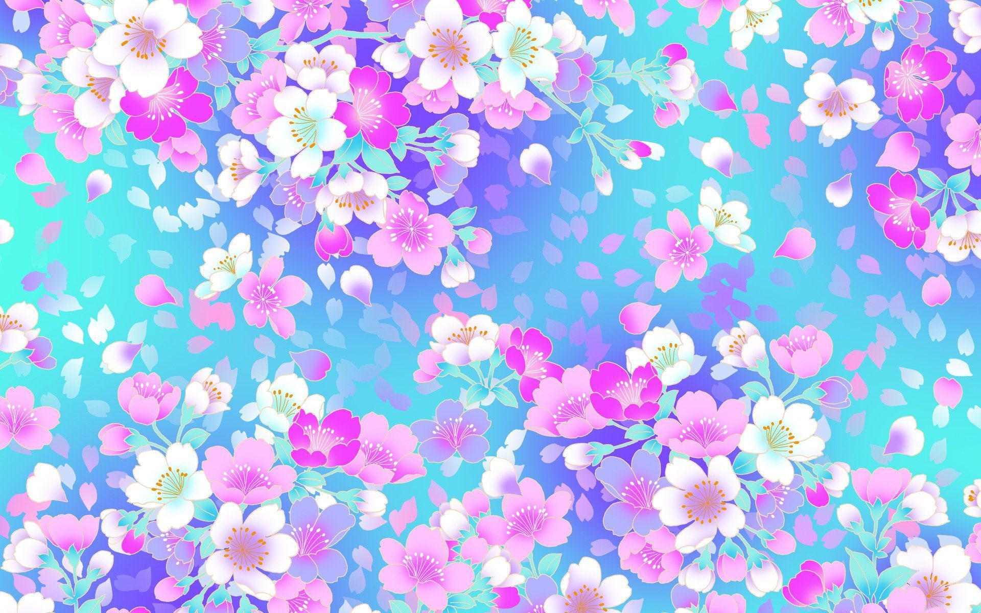 عکس زمینه شکوفه های بهاری رنگارنگ با زمینه آبی پس زمینه