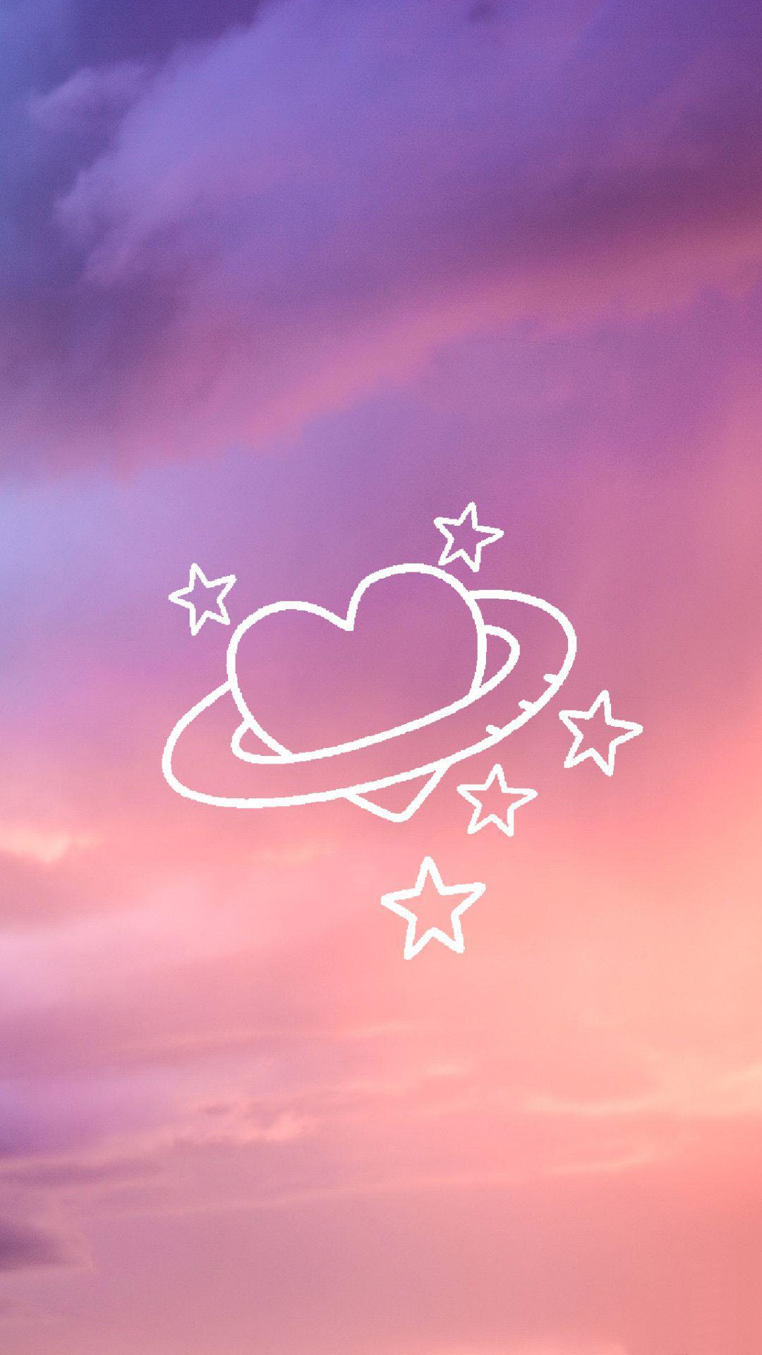 عکس زمینه آسمان با قلب پرستاره صورتی پس زمینه