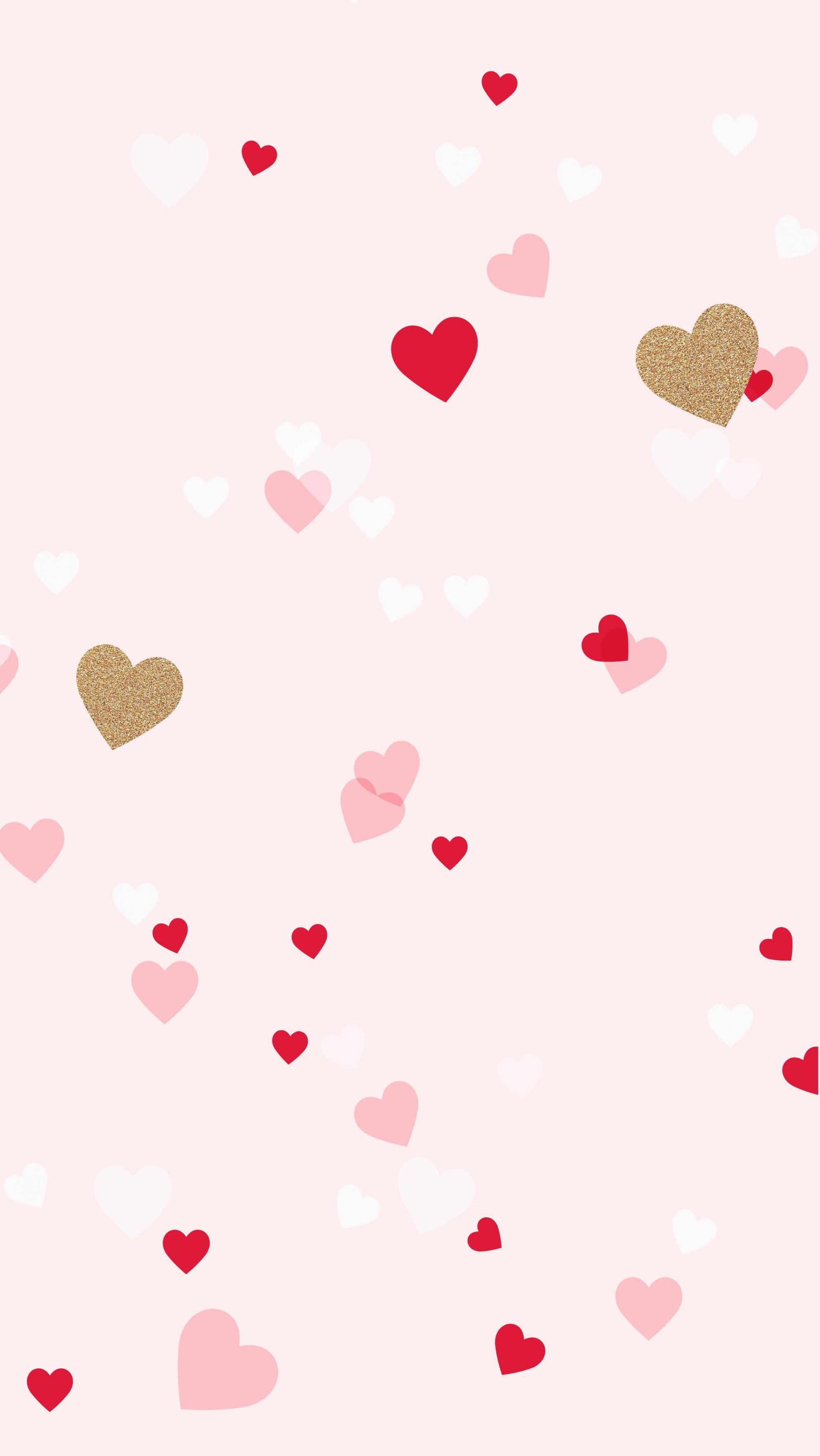 عکس زمینه قلب های رنگارنگ با زمینه صورتی پس زمینه