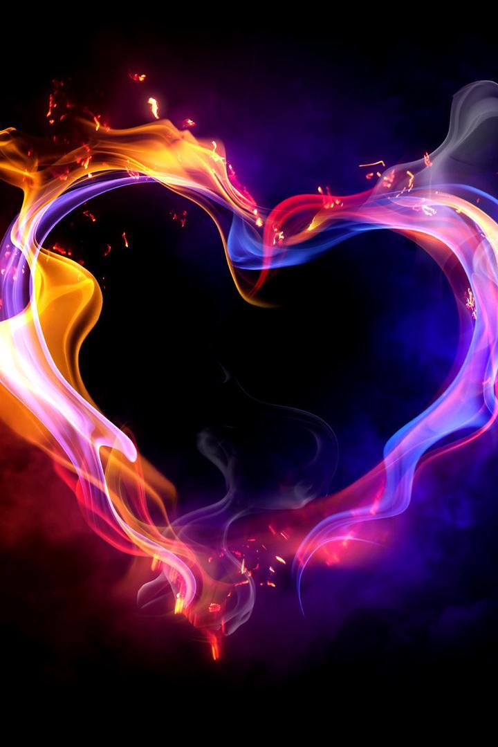 عکس زمینه قلب نئون ولنتاین رنگارنگ پس زمینه