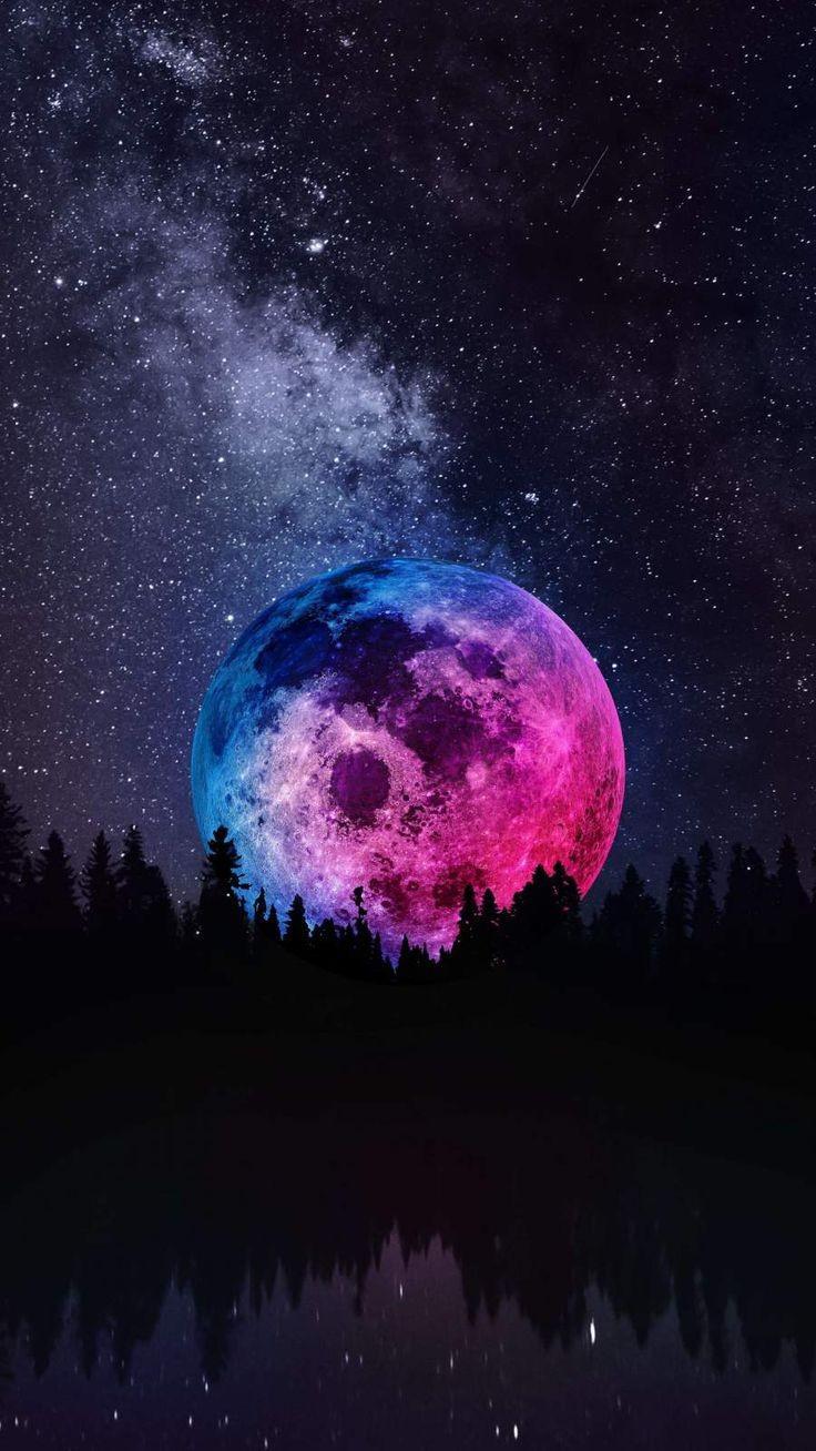 عکس زمینه ماه رنگی در آسمان پر ستاره زیبا شب پس زمینه