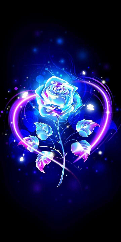 عکس زمینه گل رز نئونی عاشقانه آبی صورتی پس زمینه