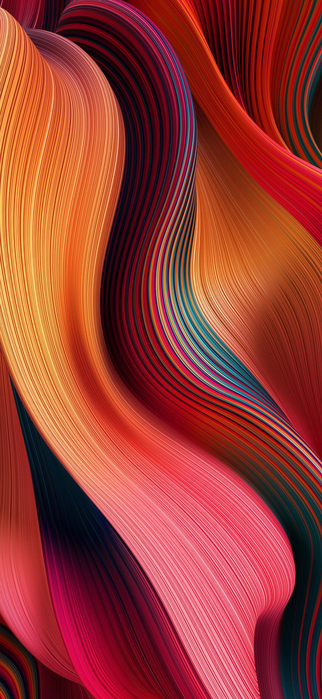 عکس زمینه اصلی شیائومی ردمی نوت 9 نارنجی قرمز صورتی پس زمینه