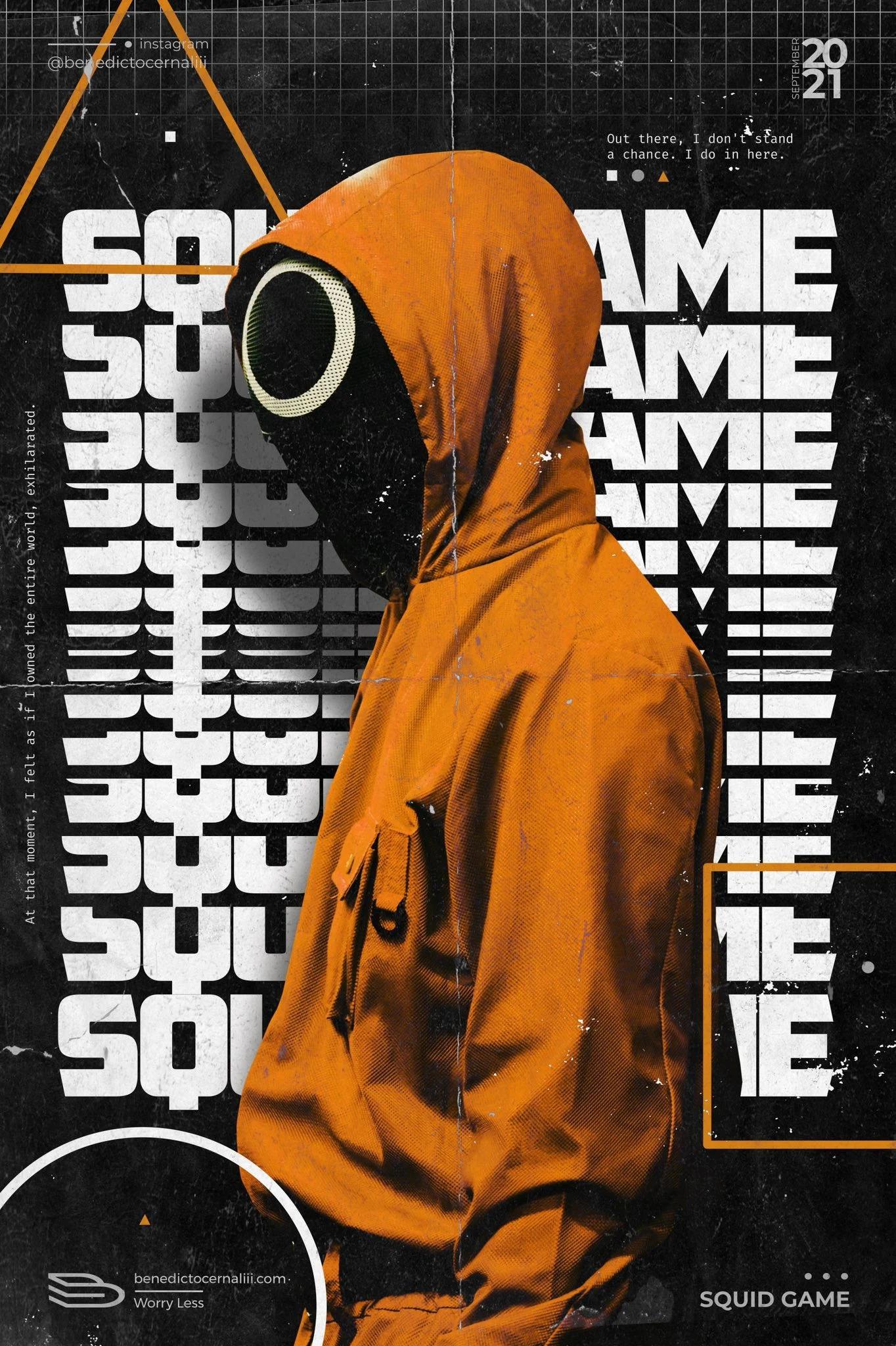عکس زمینه پوستر نارنجی سریال بازی مرکب Squid Game پس زمینه