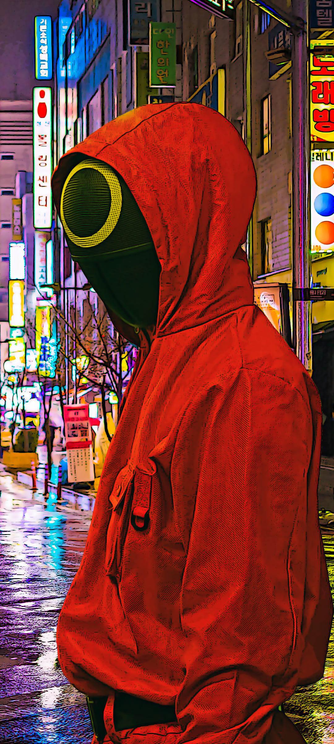 عکس زمینه شخصیت قرمز سریال بازی مرکب Squid Game پس زمینه