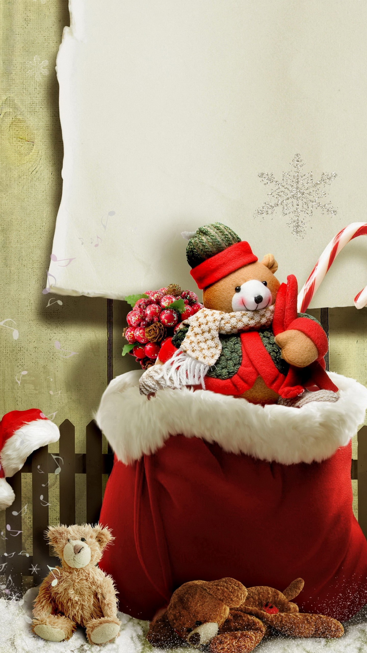 عکس زمینه خرس برفی هدیه کریسمس پس زمینه