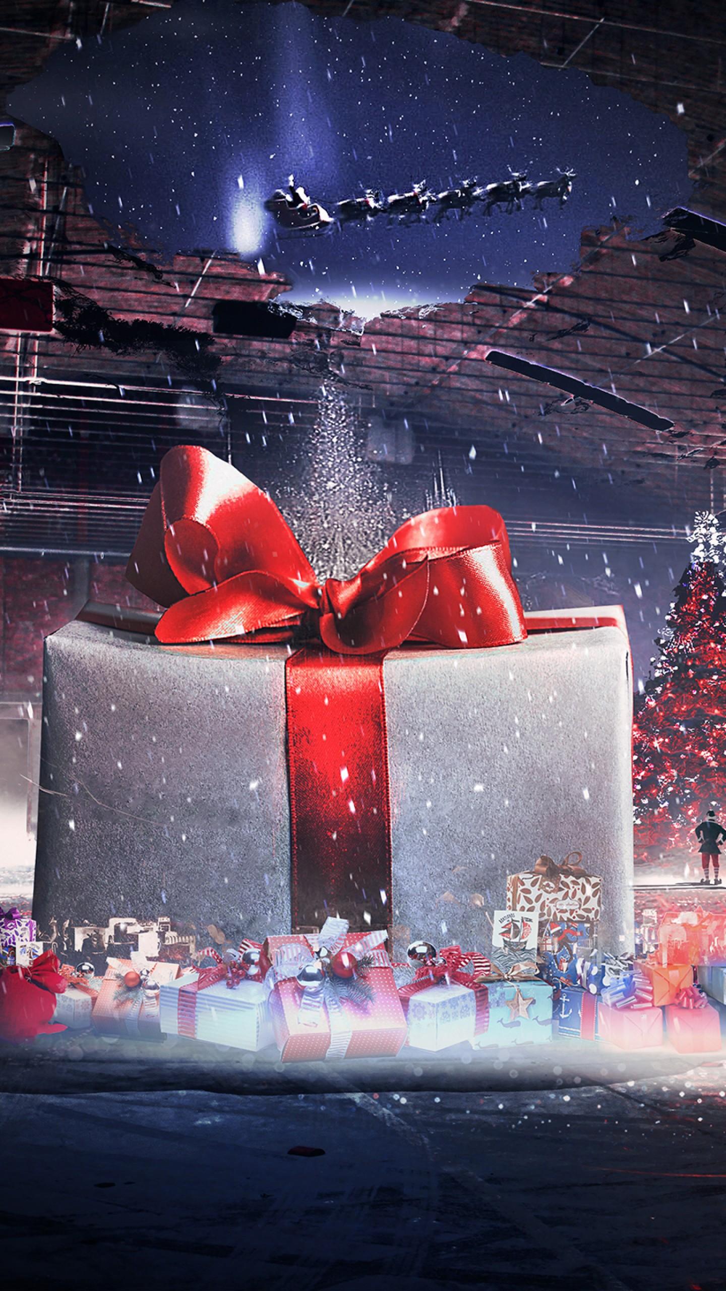 عکس زمینه هدایای بزرگ شب کریسمس پس زمینه