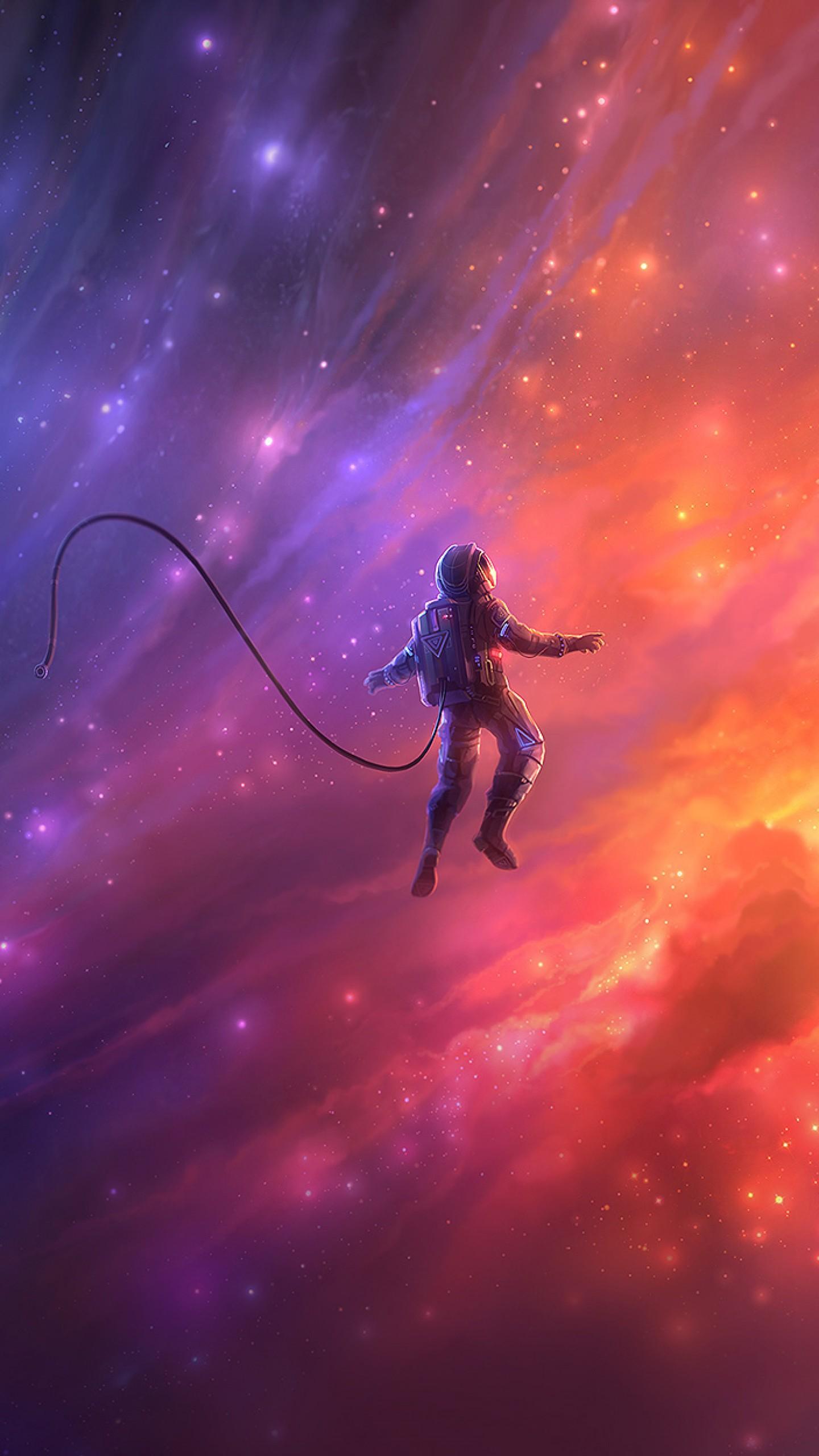 عکس زمینه فضانورد در حال حرکت در کهکشان پس زمینه