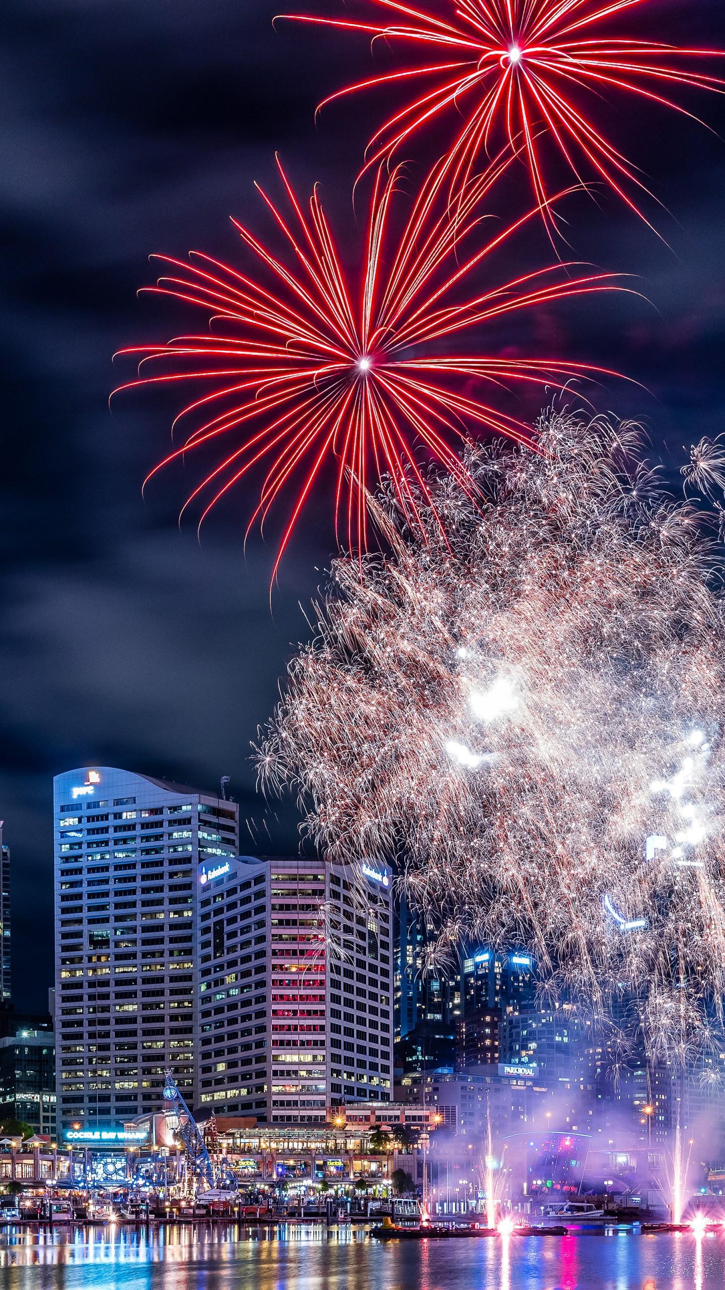عکس زمینه آتش بازی و نورپردازی در شب سیدنی پس زمینه