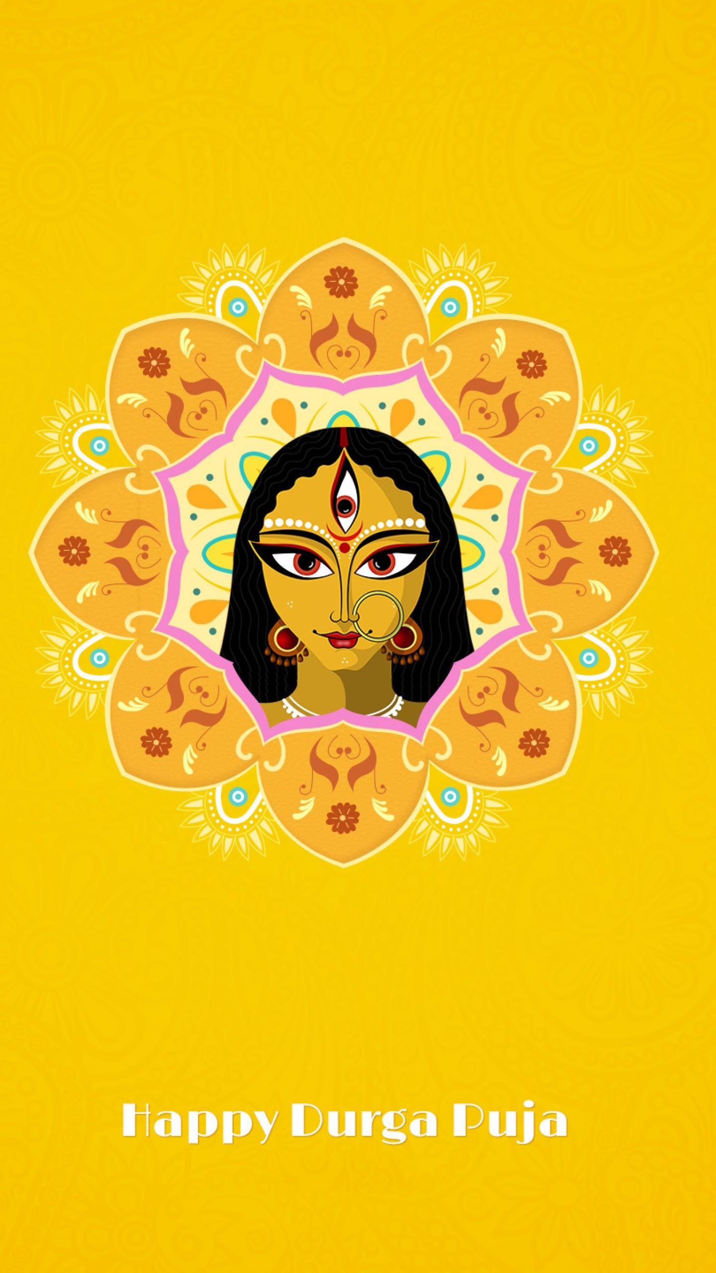 عکس زمینه زن سه چشم در جشنواره دورگا پوجا هندی پس زمینه