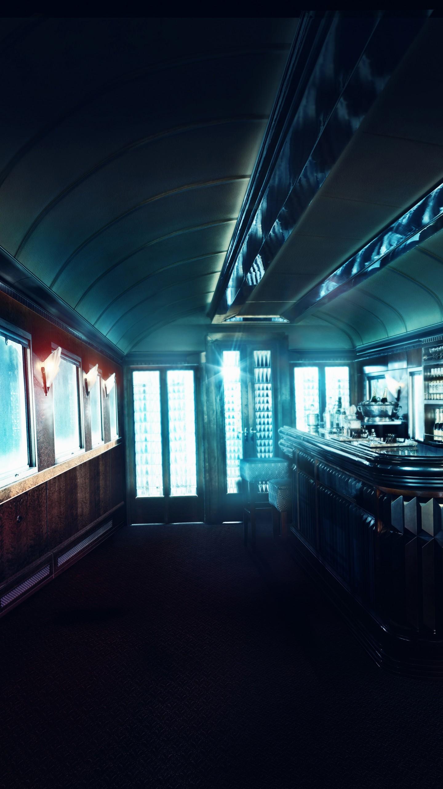 عکس زمینه کافه درون کابین قطار پس زمینه