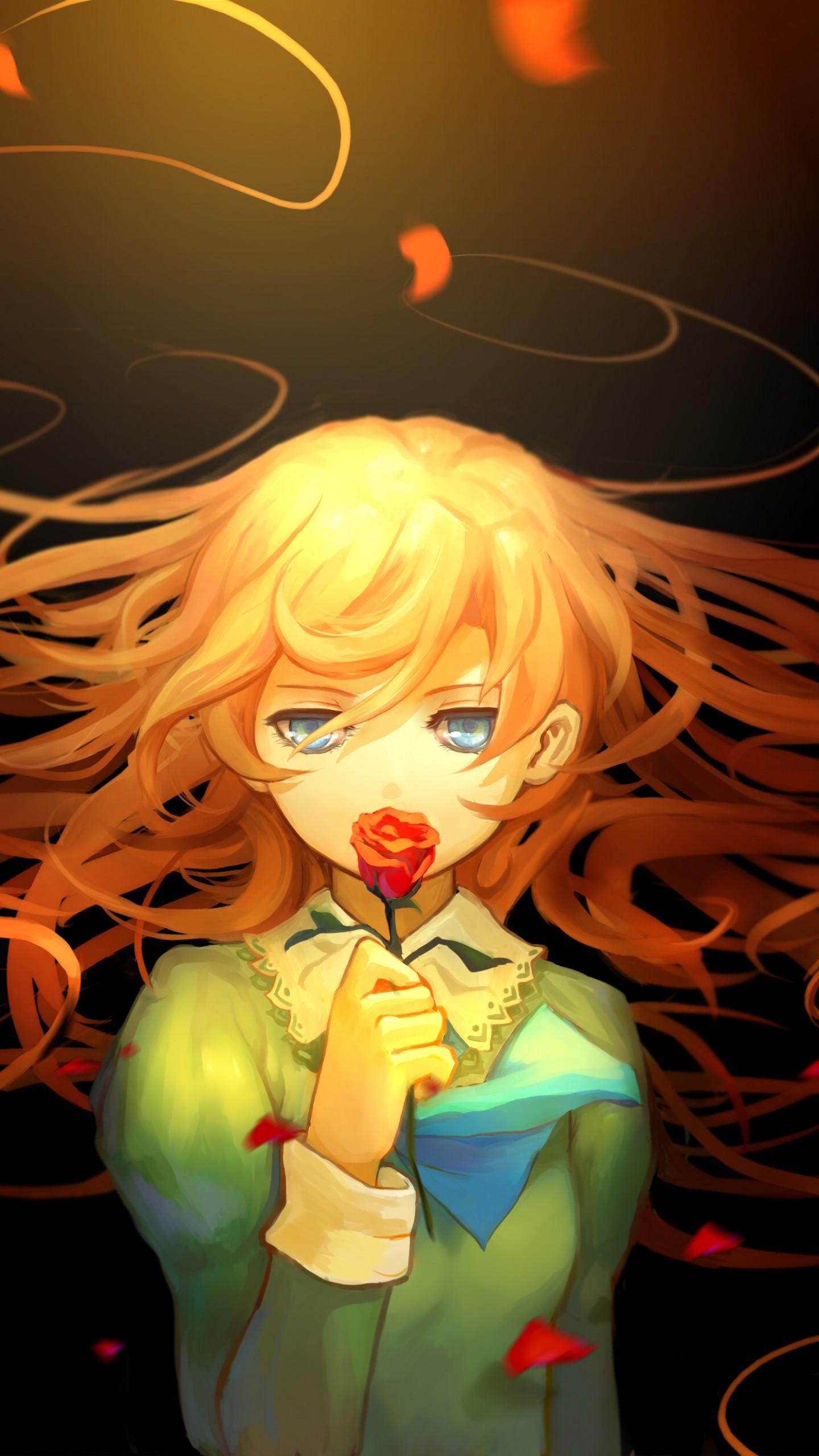 عکس زمینه انیمه دختر گل سرخ پس زمینه