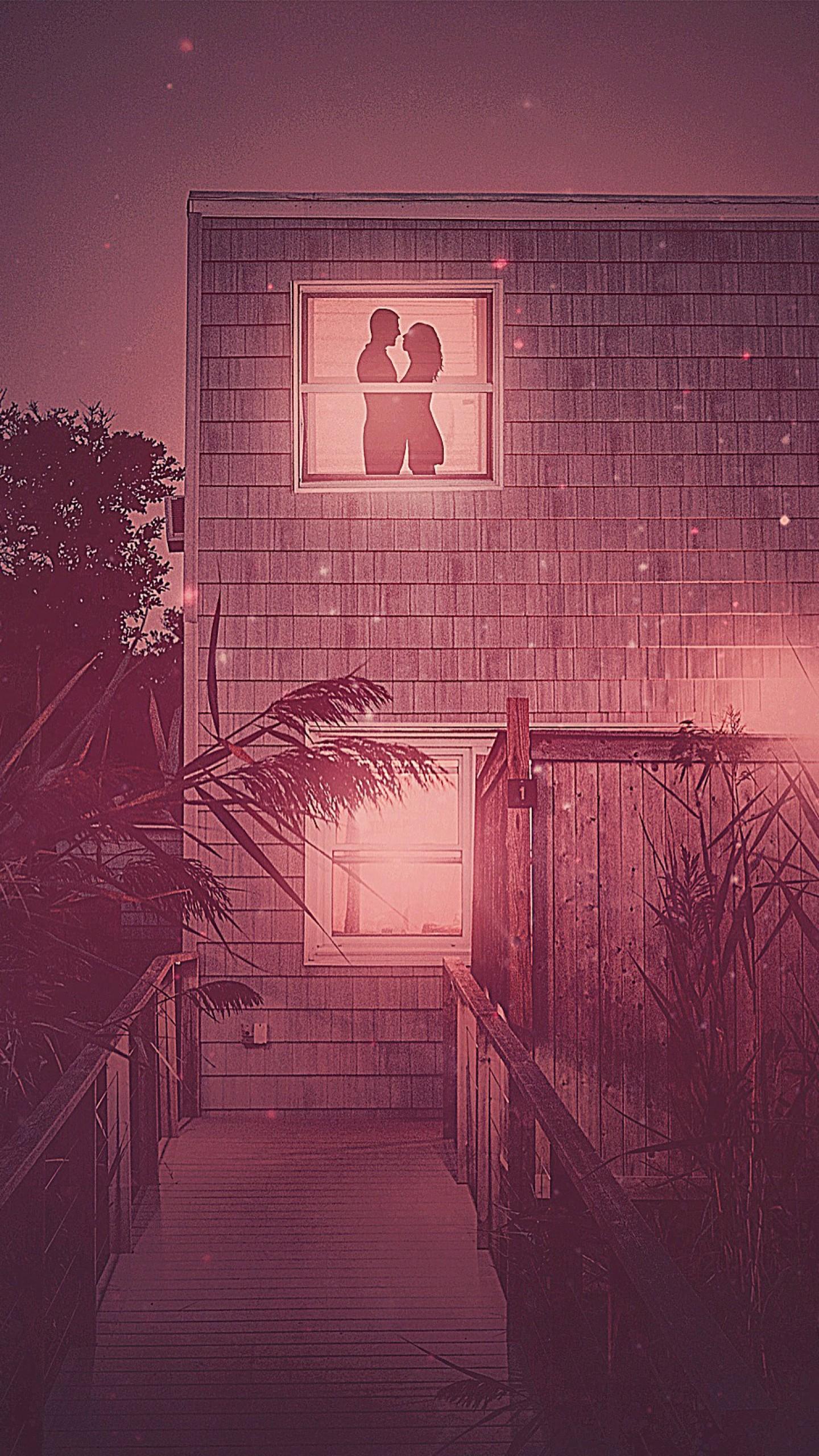 عکس زمینه زن و شوهر رمانتیک از نمای پنجره پس زمینه
