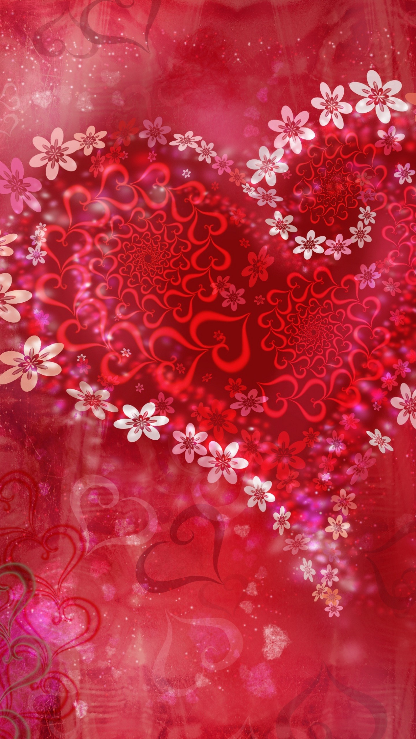 عکس زمینه قلب های قرمز و گل های سفید پس زمینه