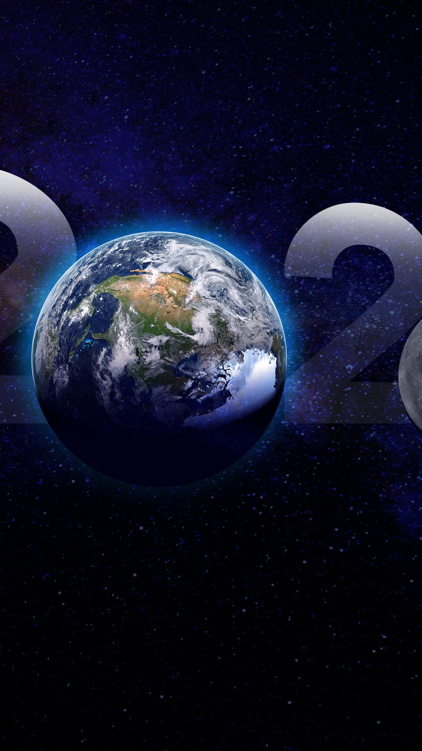 عکس زمینه کره زمین و سال 2020 میلادی پس زمینه