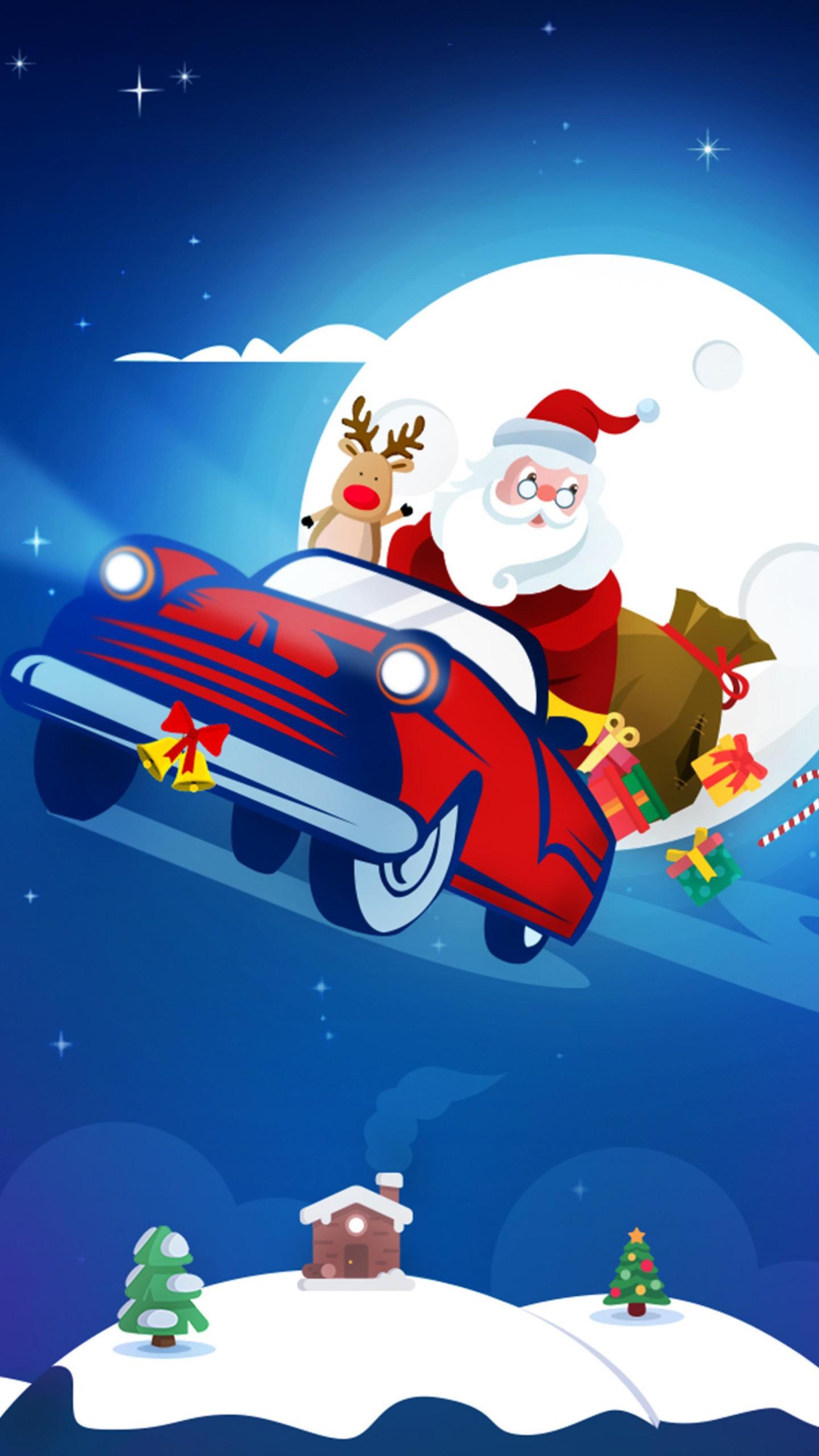 عکس زمینه ماشین بابانوئل به همراه هدیه های کریسمس پس زمینه