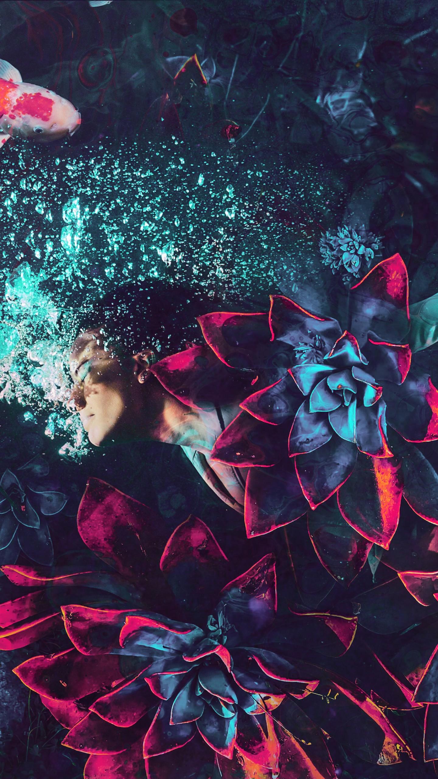 عکس زمینه رویای زن در زیر آب فانتزی پس زمینه